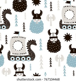 Childish seamless pattern with vikings. Trendy scandinavian vector background. Perfect for kids apparel,fabric, textile, nursery decoration,wrapping paper