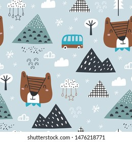 Childish seamless pattern with winter forest, mountain and bear. Good for kids fabric, textile, nursery wallpaper. Seamless landscape. Winter landscape.