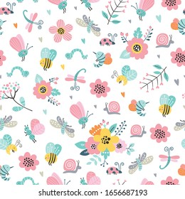 Childish seamless vector pattern with cute flowers, bee, snail, moth, dragonfly in cartoon style. Creative vector childish background for fabric, textile.