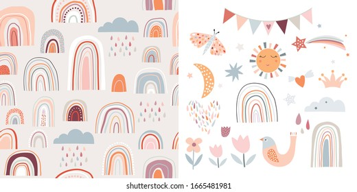Childish set with rainbows, seamless pattern and cute elements, decorative design, pastel colors