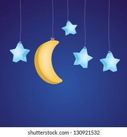 Childish stars and moon