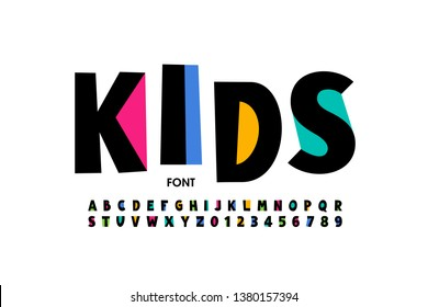 Childish style font design, playful alphabet letters and numbers vector illustration