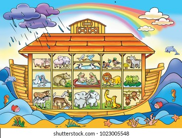 Childish style illustration of Noah's ark on the ocean waves and full of animals aboard (Horse, cow, penguin, elephant, sheep, lion, dove, goat and others). The ark is in a section.