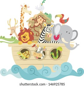 Childish style illustration of Noah's ark on the ocean waves and full of animals aboard (Lion, Chameleon, giraffe, zebra, deer, alligator, toucan, cow, monkey, snake).