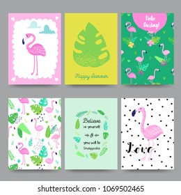 Childish Tropical Summer Design with Cute Flamingos, Palms and Flowers. Exotic Bird Cards Set for Birthday Invitation, Baby Shower. Hand Drawn Flamingo Children Print. Vector illustration