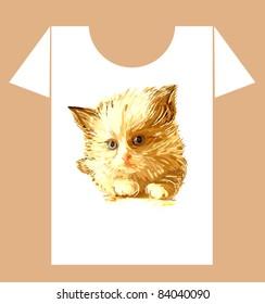 childish t-shirt design with  ginger fluffy kitten