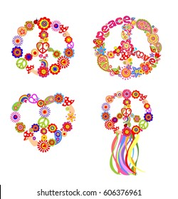 Childish t-shirt prints with peace flower symbol
