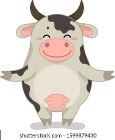 Childish vector illustration with cartoon animal character. Cute happy cow.