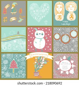 Childish vector set of nine christmas cards. Funny vintage Christmas and New Year set with snowman, children, balls, trees, gifts, deer, stars, Santa Claus. Collection of vintage illustrations