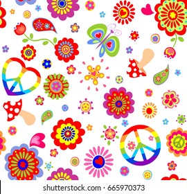 Childish wallpaper with colorful hippie peace symbol, butterfly, mushroom and abstract flowers