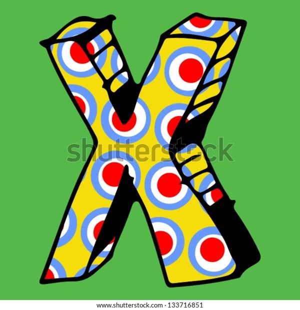 childlike crazy ABC, hand drawn letter X