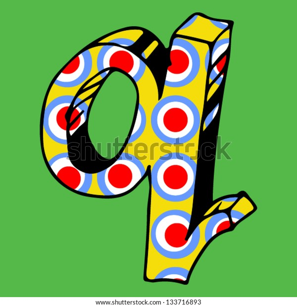 childlike crazy ABC, hand drawn letter Q