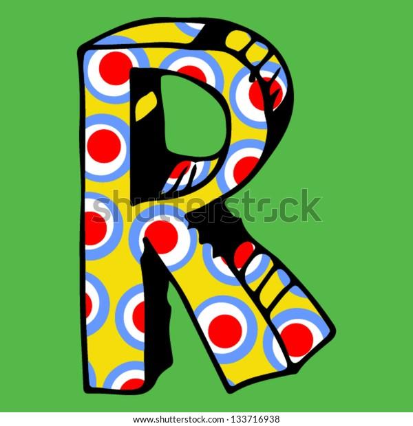 childlike crazy ABC, hand drawn letter R