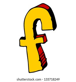 childlike doodle ABC, hand drawn letter F