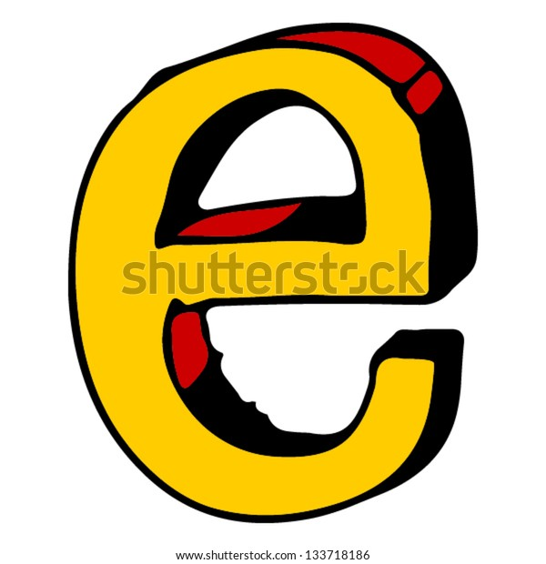 childlike doodle ABC, hand drawn letter E