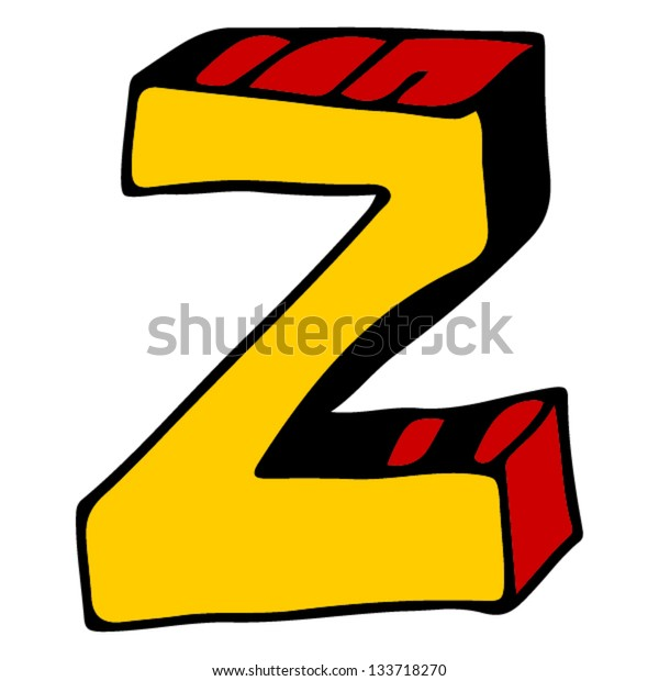 childlike doodle ABC, hand drawn letter Z