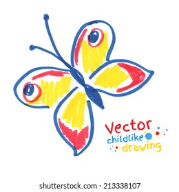 Childlike drawing of butterfly. Vector illustration. Isolated.
