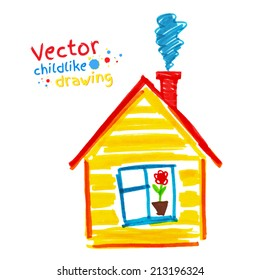 Childlike drawing of house. Vector illustration. Isolated.