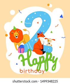 Children 2nd birthday greeting card vector template
