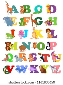 Children abc alphabet for babies, toddlers, preschoolers with funny animals pictures for each letter. Vector illustration