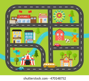 Children activity and entertainment play mat with city landscape and cars.  With park, circus, car road, farm, buildings, plants. Vector illustration