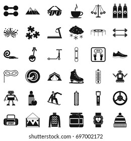 Children activity icons set. Simple style of 36 children activity vector icons for web isolated on white background