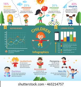 Children activity poster template of modern vector flat design icons and infographics elements