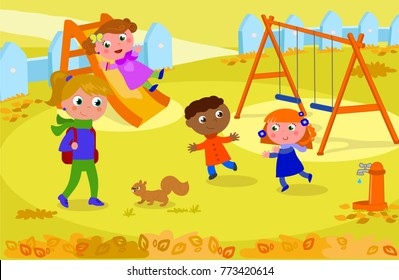 Children and adult at the playground in fall, playing with squirrel. Vector illustration