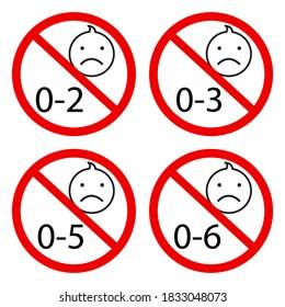 Children age restriction sign. Prohibition sign for children. Child toy hazard symbol. Vector illustration.