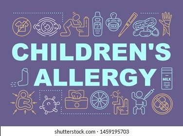 Children allergy word concepts banner. Kids health care. Pediatric allergy and immunology. Presentation, website. Isolated lettering typography idea with linear icons. Vector outline illustration