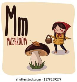 Children alphabet: letter M is Mushroom