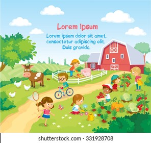 children and animals in the farm