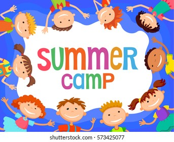 children around banner cartoon funny vector, Ready for your message. blank template character. illustration summer camp