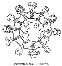 Children around the world. Kids around the world. Earth day illustration with children