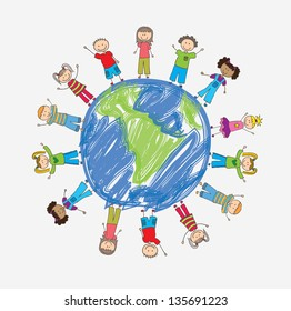 children around the world in signal of protection vector illustration