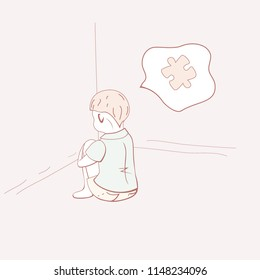Children with autism. A  little boy sitting on floor facing the wall and thinking about the puzzle. Schizoid accentuation. ASD concept. Vector illustration.