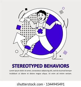 Children Autism Spectrum Disorder ASD Icon. Early signs of autism syndrome in children. Stereotyped behaviors. Ritualistic behavior. Tiptoeing. Repetitive movements, hand flapping. Restricted interest