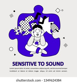 Children Autism Spectrum Disorder ASD Icon. Early signs of autism syndrome in children. Sensitive to sound. Intolerance to noise and sound. Autism sign infographic for parent. Flat vector illustration