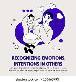 Children Autism Spectrum Disorder ASD Icon. Early signs of autism syndrome in children. Recognizing emotions and intentions in others. Flat illustration.