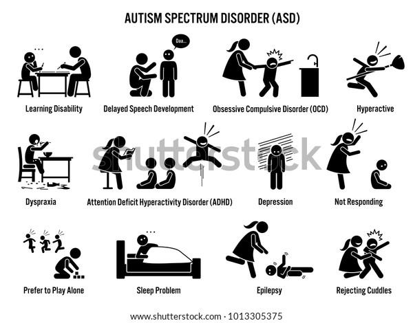 Ongekend Kinderen autisme spectrum stoornis ASD Pictogrammen. stockvector BP-05