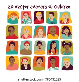 Children avatars group set. Color vector illustration. EPS8