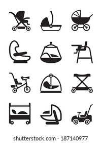 Children and baby accessories - vector illustration