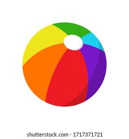 Children ball on white background. Colorful beach ballon for holidays summer. Vector Illustration.