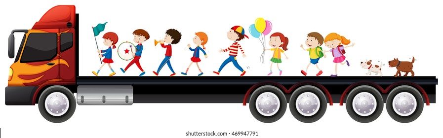 Children in the band on lorry truck illustration