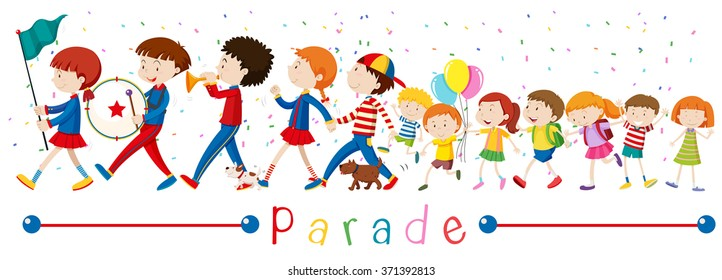 Children and the band in the parade illustration