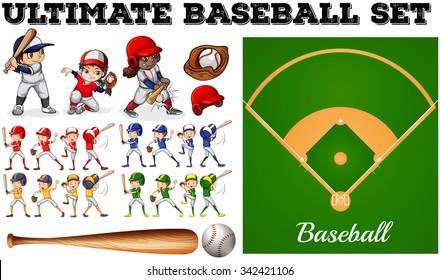 Children in baseball team and field illustration