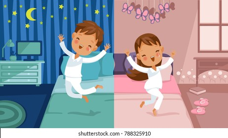 Children bedroom.  boy is going to bed, he jumps on the bed, girl is awake, she jumps on the bed. Two different cartoon images, daily routine concept. Vector illustration separated blue and pink room.