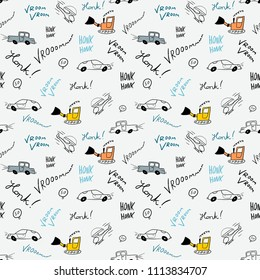 Children bedsheets pattern - hand-drawn cartoon cars and helicopters doodle texture.