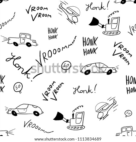 Children Bedsheets Pattern Handdrawn Cartoon Cars Stock Vector