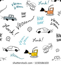 Children bedsheets vector - hand-drawn cartoon cars and helicopters doodle texture.